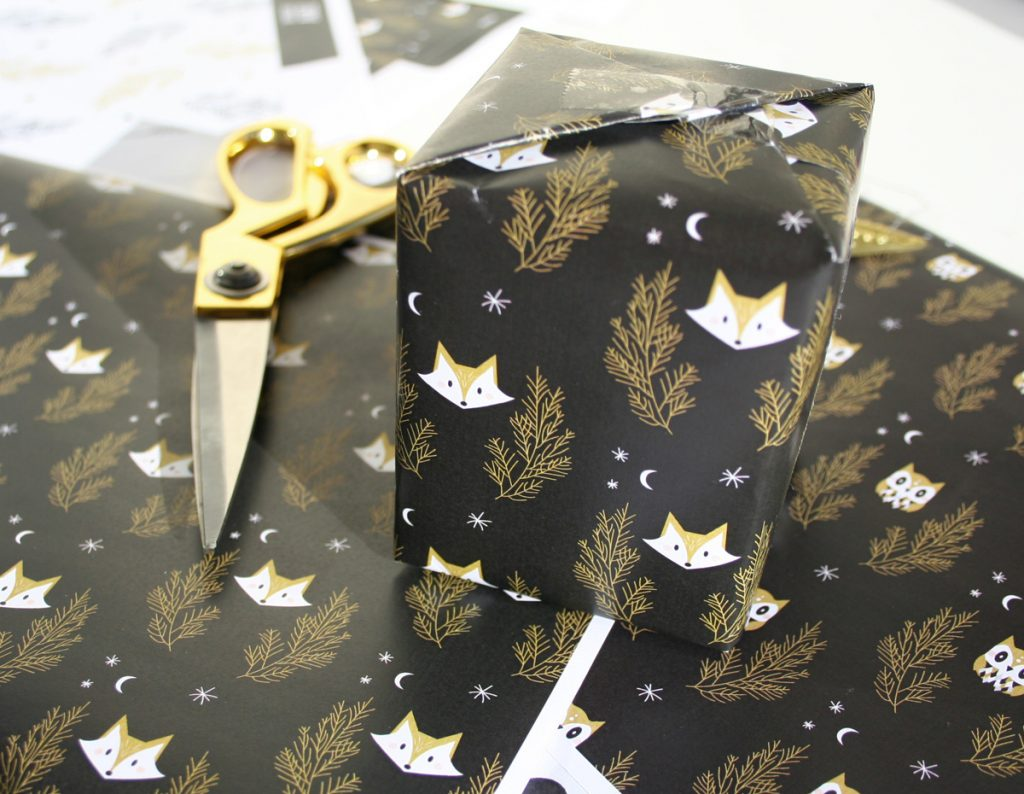 Printable fox wrapping paper woodland animals christmas DIY