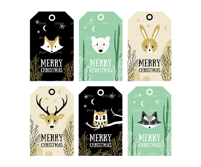 etiquewoodland animals christmas tags printable DIY