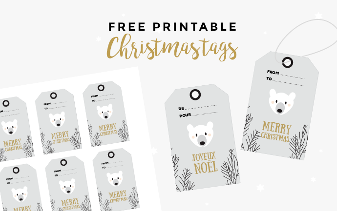 Free printable christmas tags polar bear - instant download
