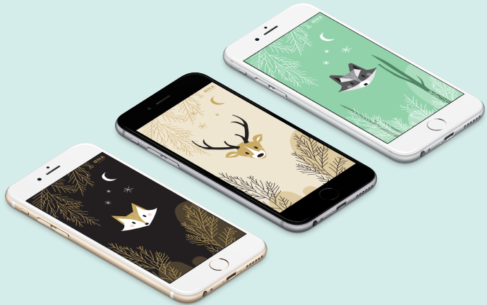 iPhone Galaxy S wallpaper raccoon fox deer owl for mobile