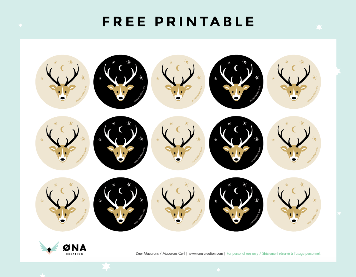 image about Free Printable Christmas Stickers titled Printable Gratuit : stickers de Noël tête de cerf - ONA Production
