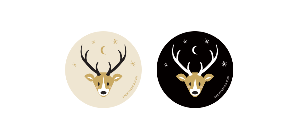 Free printable Deer circle tag stickers tete de cerf