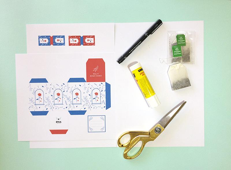 outils création dune boite à thé printable
