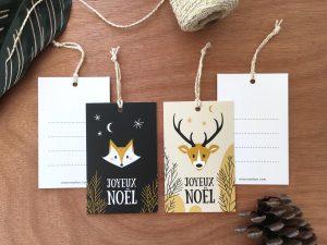 Etiquettes cadeaux de Noël cerf et renard