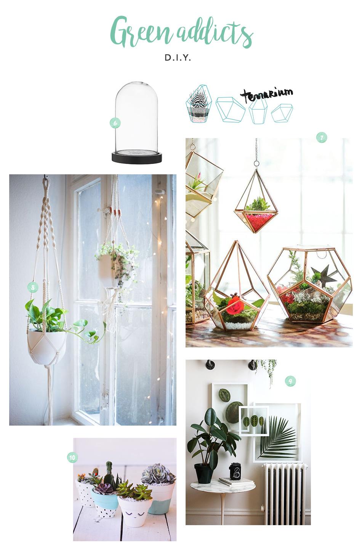 DIY idées cadeaux plantes, pots de fleurs, herbier, cloche, terrarium, macramé