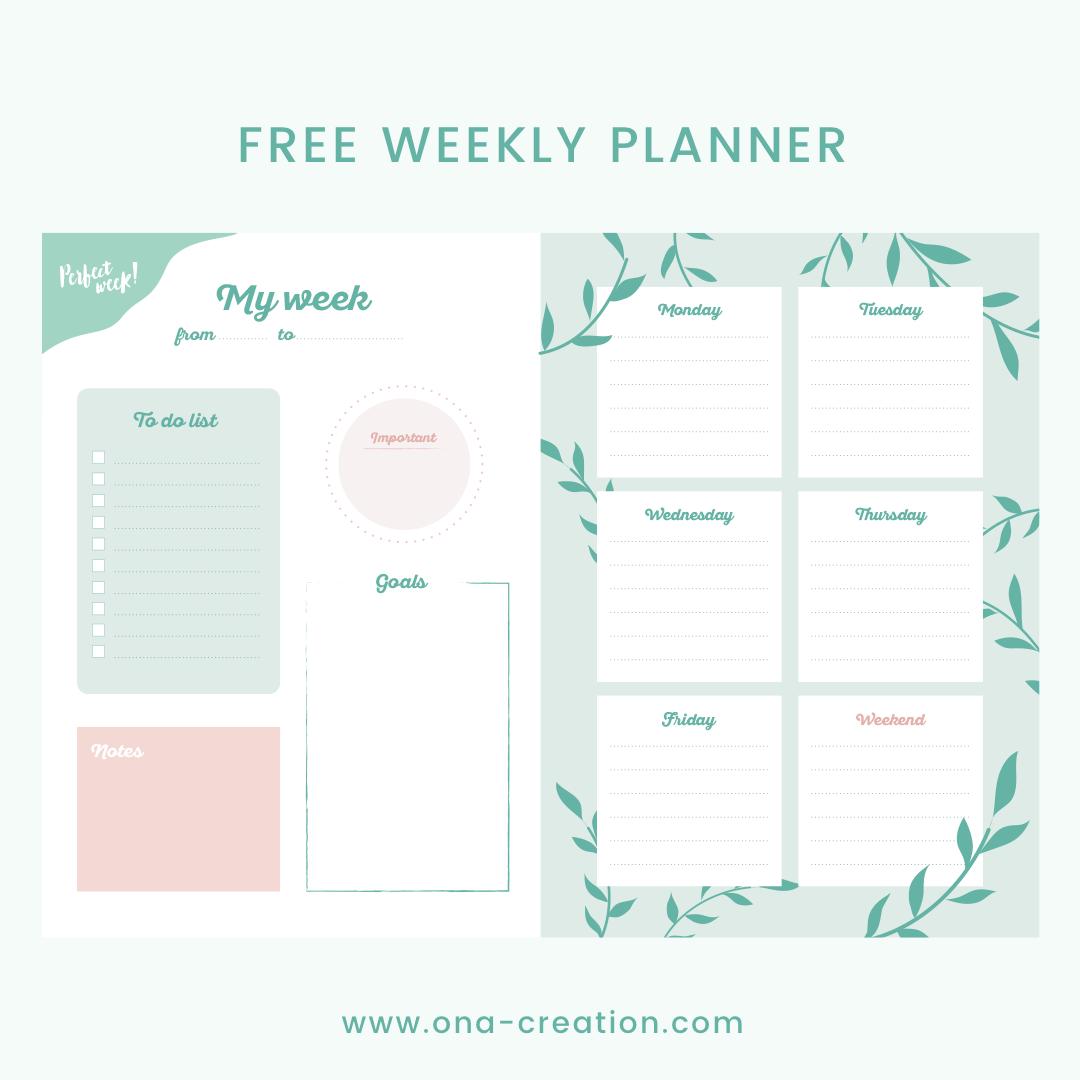 Free weekly planner - bullet journal - semainier gratuit à télécharger et imprimer