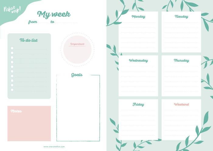 Semainier gratuit à télécharger et imprimer - bullet journal weekly planner