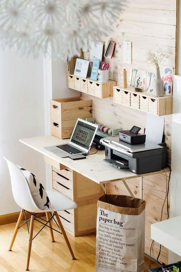 Bureau rangement en bois - étagères boites paperbag