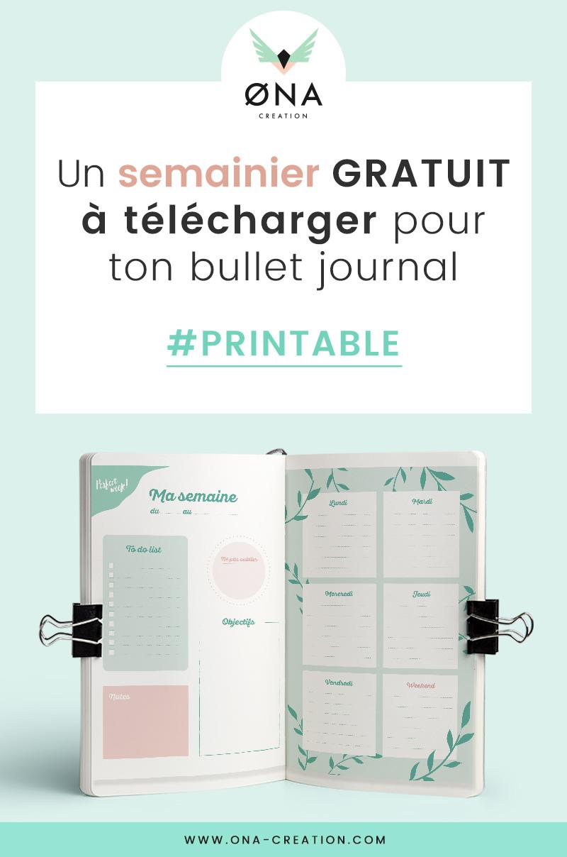 Semainier gratuit à télécharger - ona creation - Bullet Journal