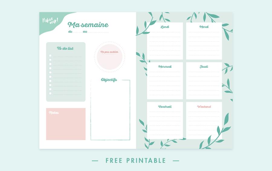 Semainier gratuit à imprimer et télécharger - free weekly planner - printable - bullet journal