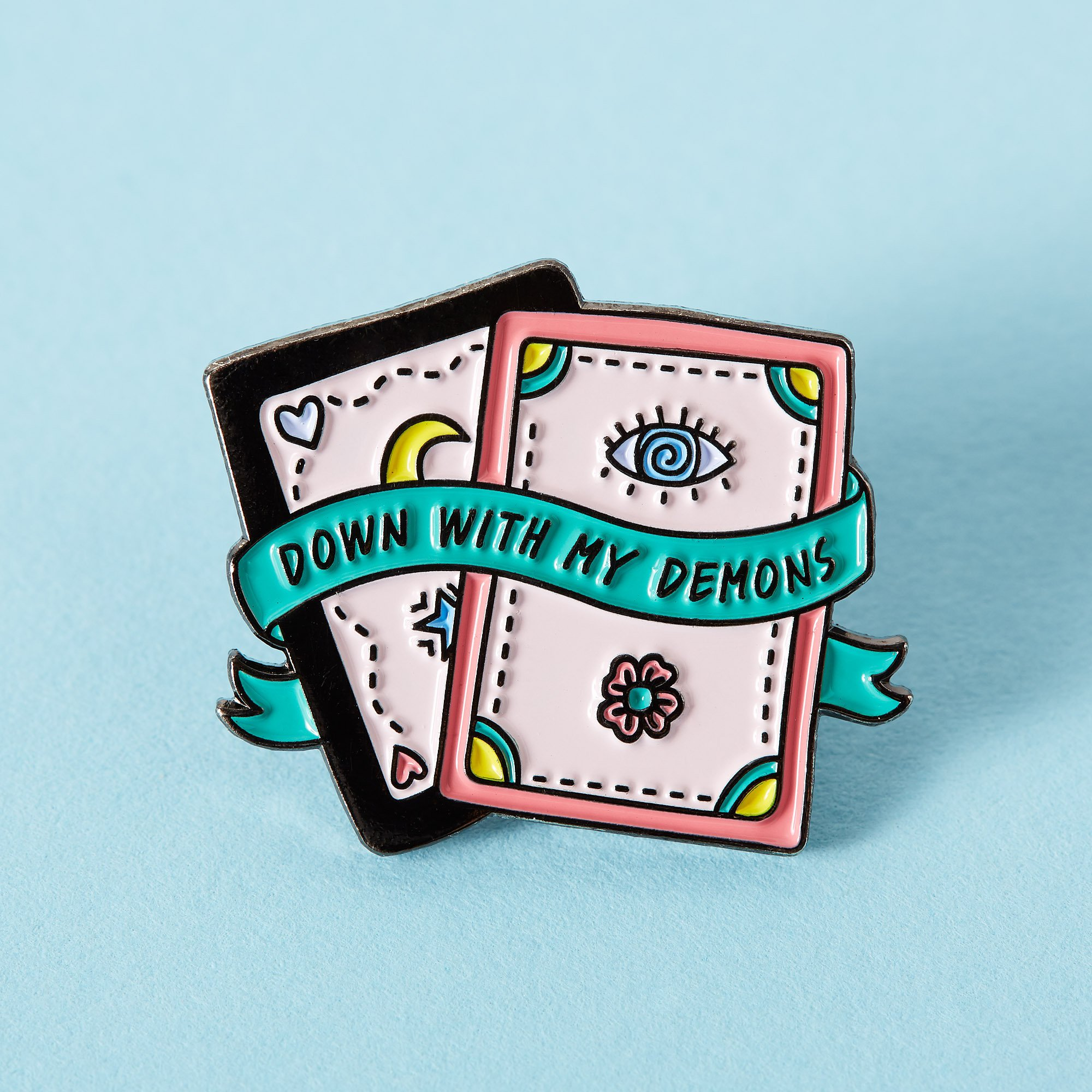 Down with my demons pin's - carte magique - halloween enamel pin - tarot pin