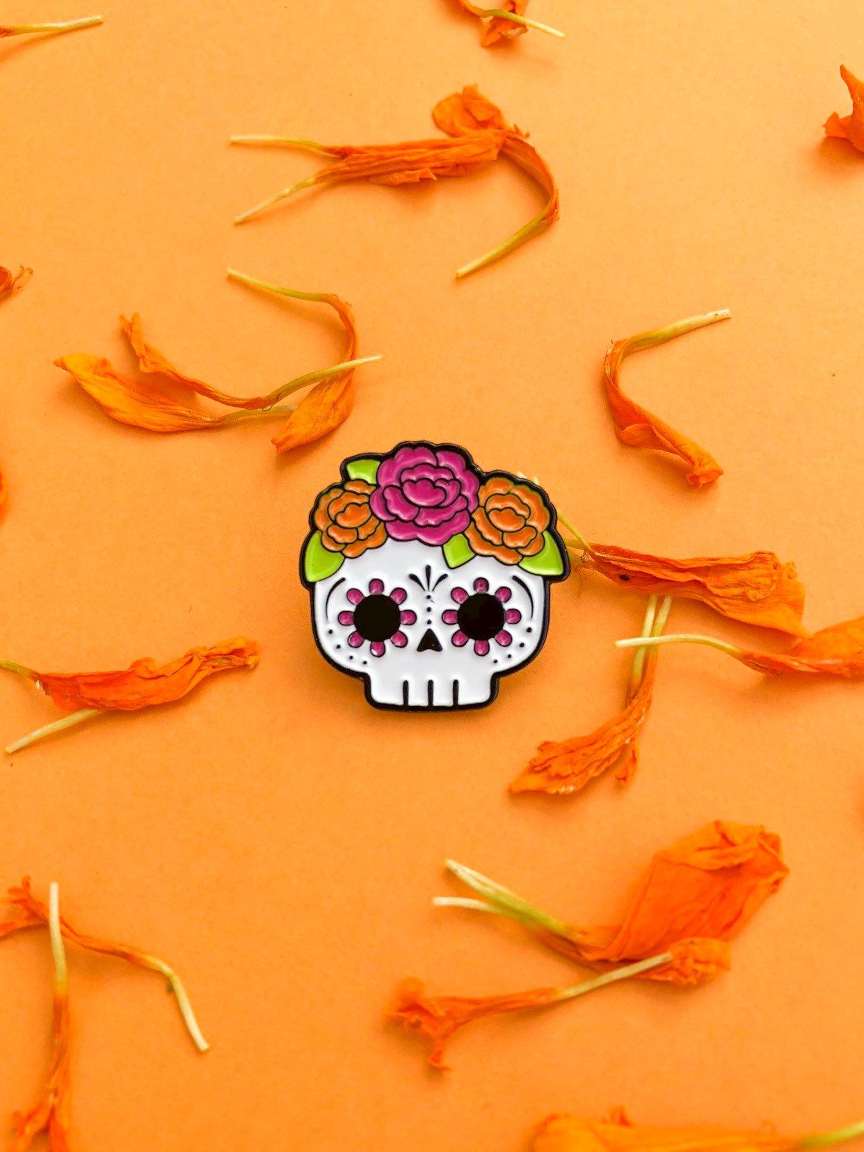 Pin's Halloween Calavera à fleurs - Sugar skull pin enamel