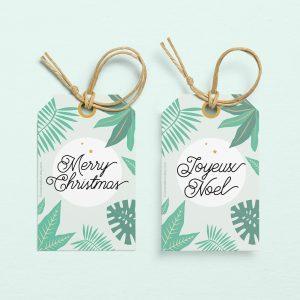 Etiquettes cadeaux de Noël tropical - christmas tags