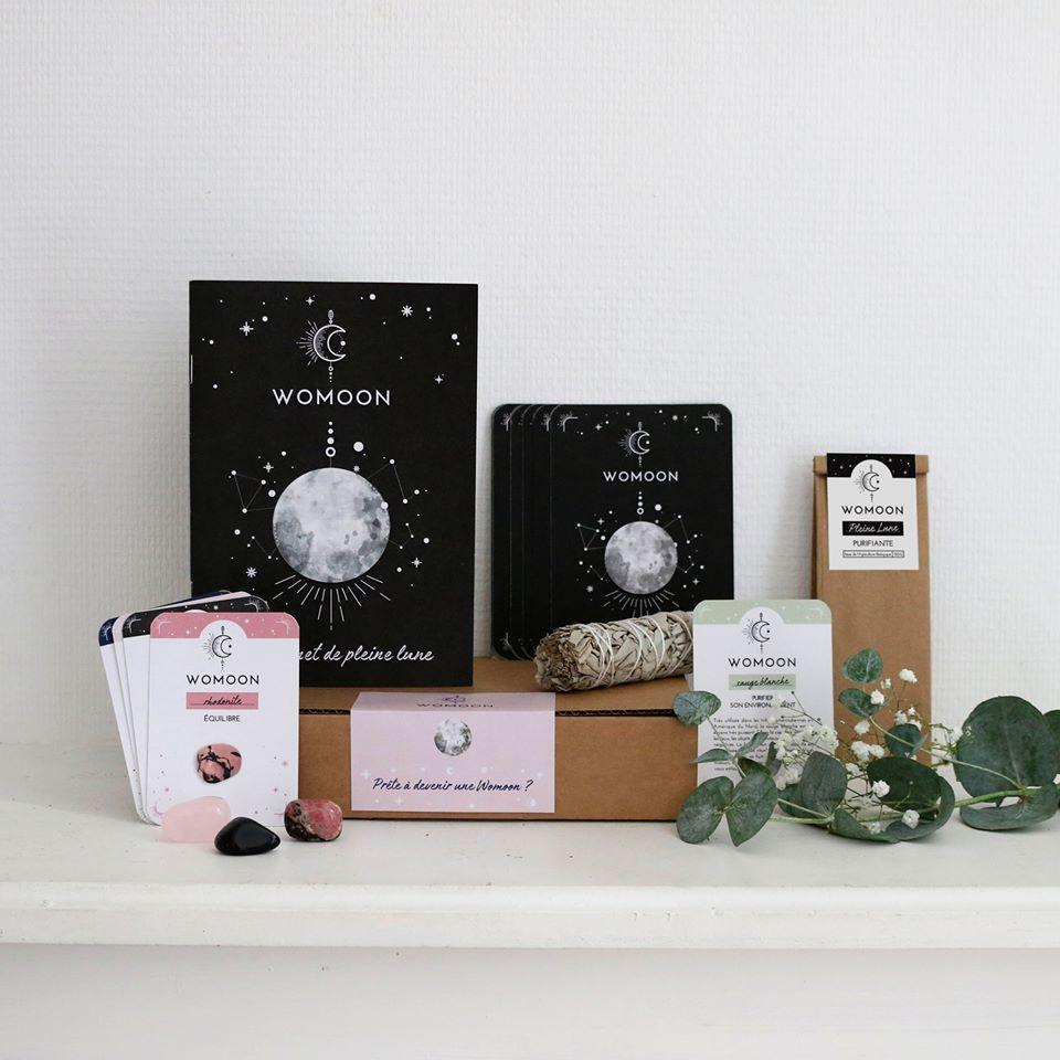 Kit rituels de pleine Lune - boutique Womoon - carnet, pierre, tisane
