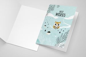 Greeting card Best wishes, happy new year, owl, winter