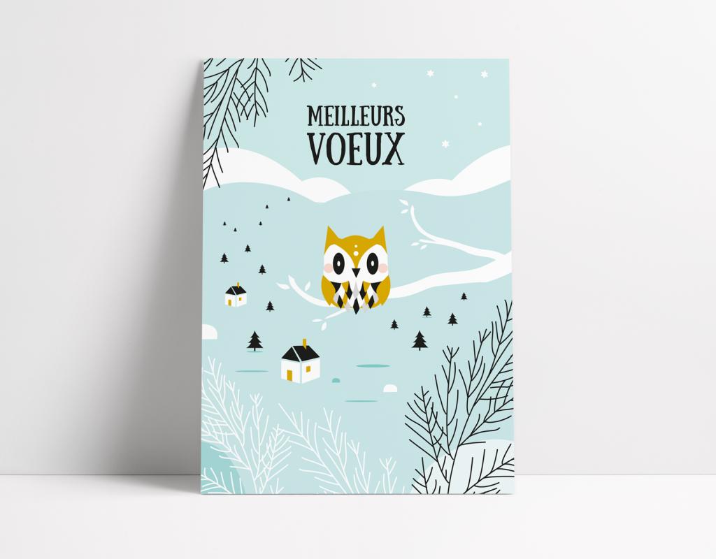 Carte de voeux, hibou, village hiver, Meilleurs voeux, Bonne année, Happy new year card