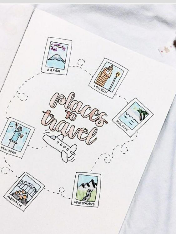 Travel places page bullet journal collection voyages