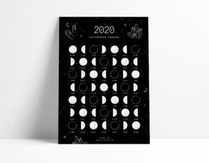Calendrier lunaire 2020 - ONA Creation - Moon calendar - postcard - phase de la lune
