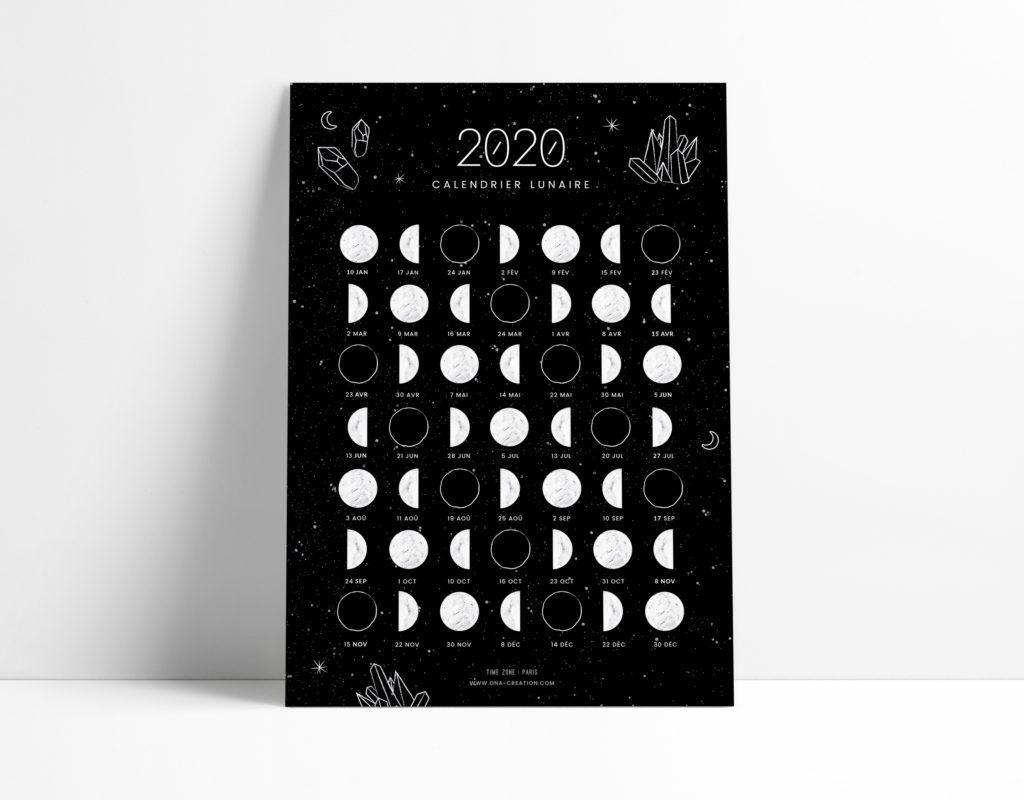 Calendrier lunaire 2020 - phases de lune - carte